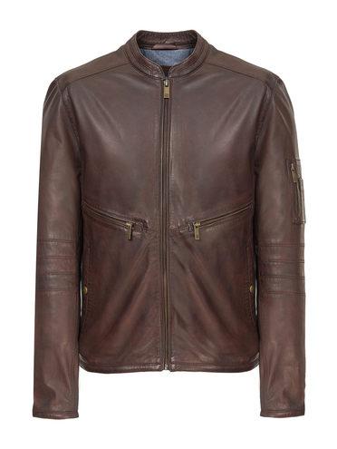 Кожаная куртка кожа, цвет темно-коричневый, арт. 16809215  - цена 11990 руб.  - магазин TOTOGROUP