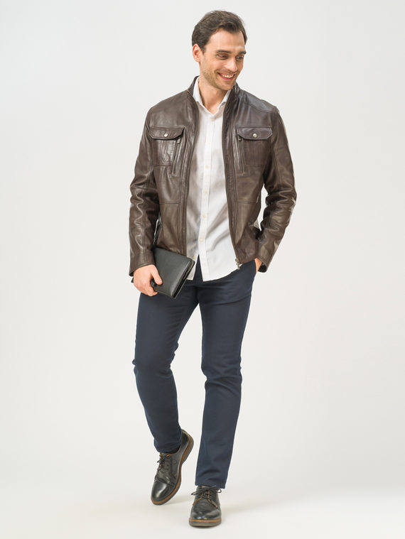 Кожаная куртка кожа, цвет темно-коричневый, арт. 16809229  - цена 11990 руб.  - магазин TOTOGROUP