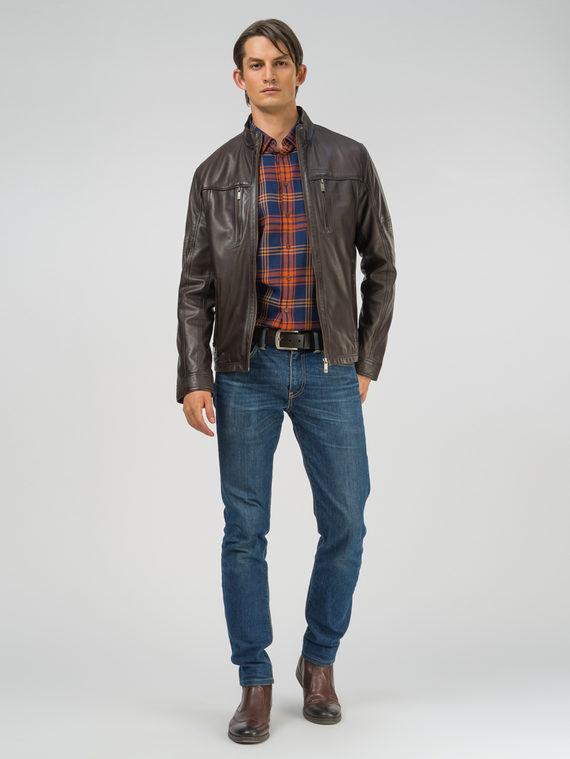 Кожаная куртка кожа, цвет темно-коричневый, арт. 16809230  - цена 13390 руб.  - магазин TOTOGROUP