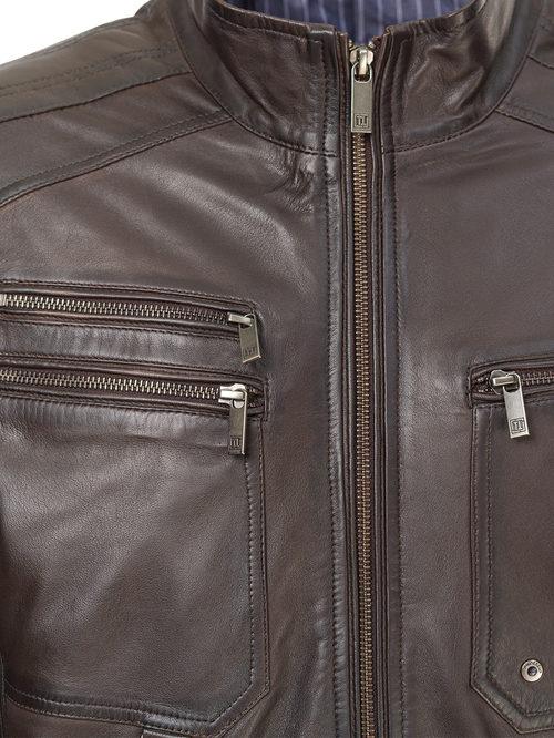 Кожаная куртка артикул 16809234/48 - фото 3