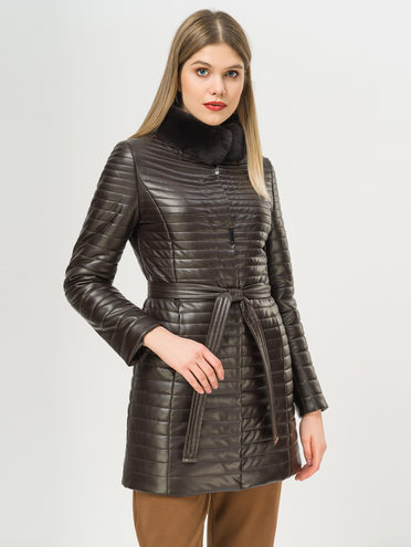 Кожаное пальто эко-кожа 100% П/А, цвет темно-коричневый, арт. 16809306  - цена 7990 руб.  - магазин TOTOGROUP