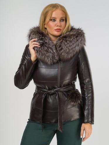 Кожаная куртка эко-кожа 100% П/А, цвет темно-коричневый, арт. 16809312  - цена 12690 руб.  - магазин TOTOGROUP
