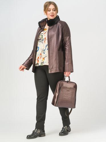 Кожаная куртка эко-кожа 100% П/А, цвет темно-коричневый, арт. 16810214  - цена 9990 руб.  - магазин TOTOGROUP