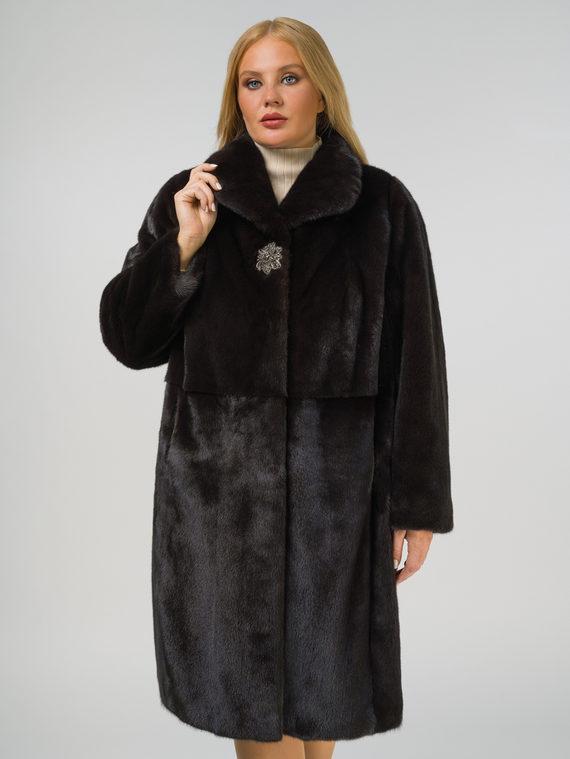 Шуба из норки мех норка, цвет темно-коричневый, арт. 16810513  - цена 105990 руб.  - магазин TOTOGROUP