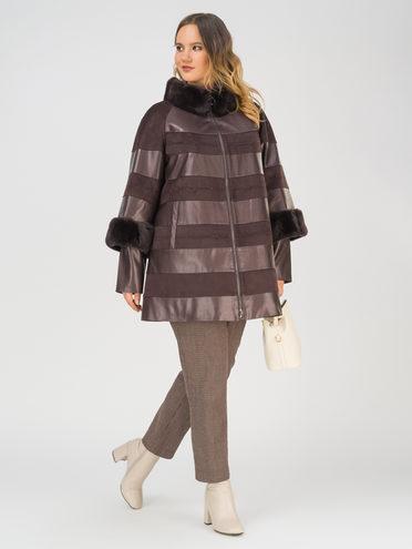 Кожаная куртка эко-замша 100% П/А, цвет темно-коричневый, арт. 16810800  - цена 15990 руб.  - магазин TOTOGROUP