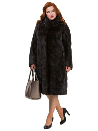 Шуба из норки мех норка крашеная, цвет темно-коричневый, арт. 16900824  - цена 105990 руб.  - магазин TOTOGROUP
