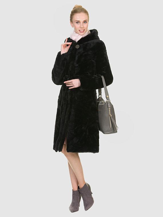 Шуба из мутона мех мутон, цвет темно-коричневый, арт. 16900937  - цена 25590 руб.  - магазин TOTOGROUP