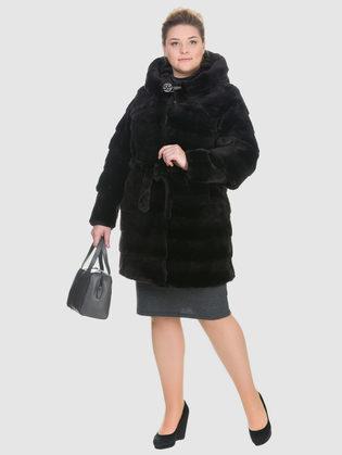 Шуба из мутона мех мутон, цвет темно-коричневый, арт. 16900939  - цена 39990 руб.  - магазин TOTOGROUP