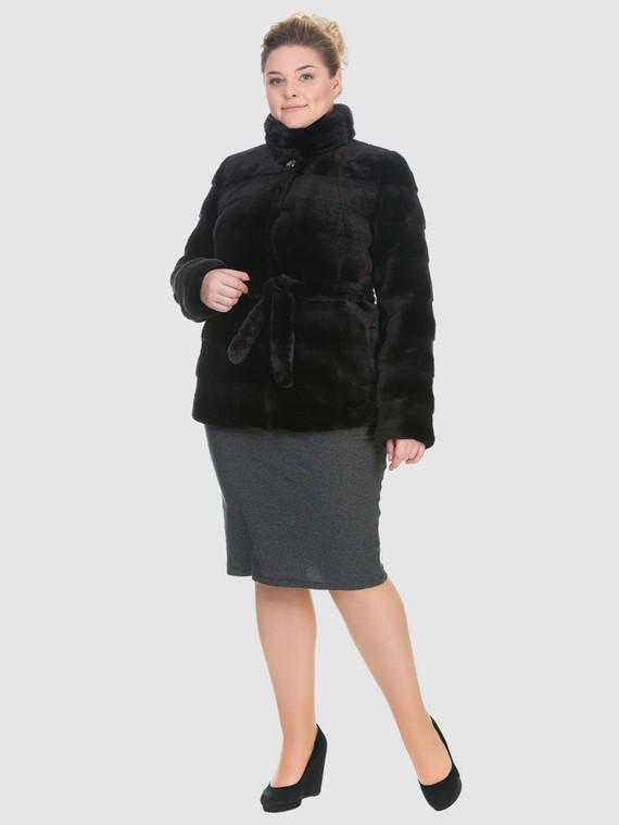 Шуба из мутона мех мутон, цвет темно-коричневый, арт. 16900940  - цена 25590 руб.  - магазин TOTOGROUP