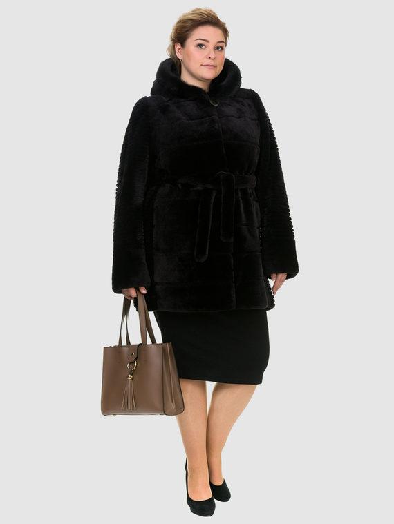 Шуба из мутона мех мутон, цвет темно-коричневый, арт. 16900941  - цена 25590 руб.  - магазин TOTOGROUP