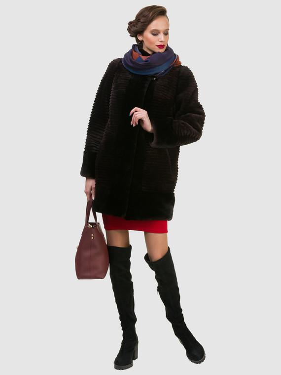 Шуба из мутона мех мутон, цвет темно-коричневый, арт. 16900988  - цена 17990 руб.  - магазин TOTOGROUP