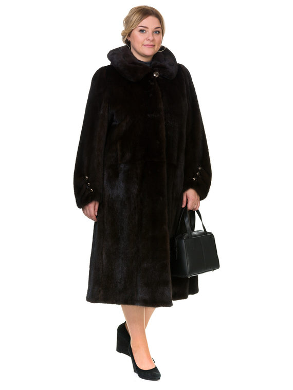 Шуба из норки мех норка, цвет темно-коричневый, арт. 16901037  - цена 84990 руб.  - магазин TOTOGROUP