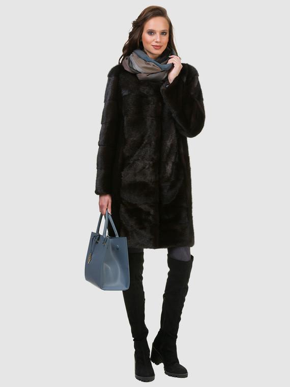 Шуба из норки мех норка, цвет темно-коричневый, арт. 16901047  - цена 59990 руб.  - магазин TOTOGROUP