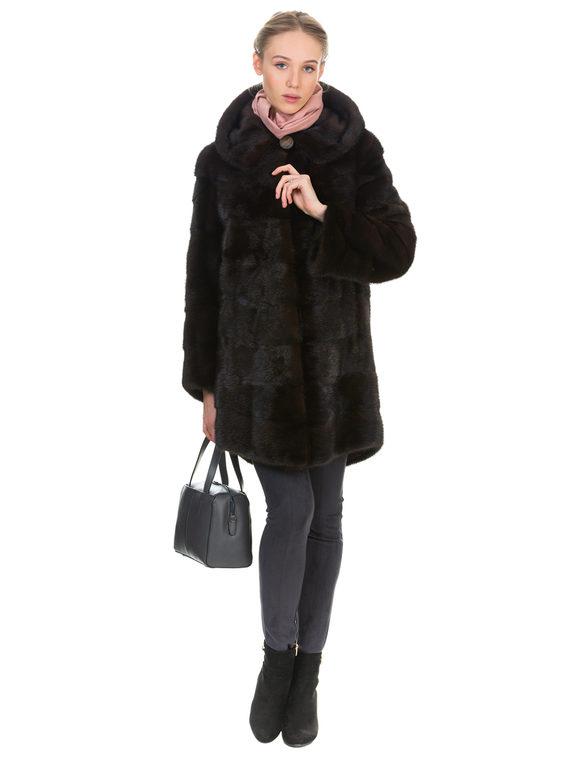 Шуба из норки мех норка, цвет темно-коричневый, арт. 16901051  - цена 59990 руб.  - магазин TOTOGROUP