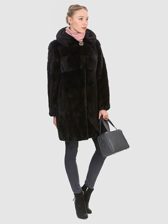 Шуба из норки мех норка, цвет темно-коричневый, арт. 16901107  - цена 67990 руб.  - магазин TOTOGROUP