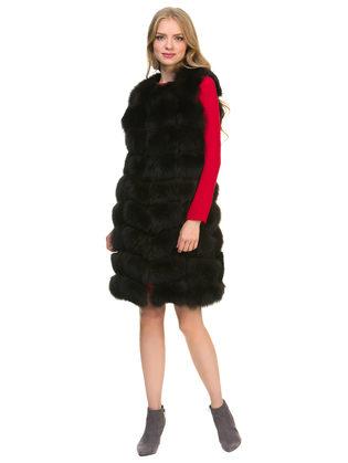 Меховой жилет мех песец, цвет темно-коричневый, арт. 16901129  - цена 22690 руб.  - магазин TOTOGROUP