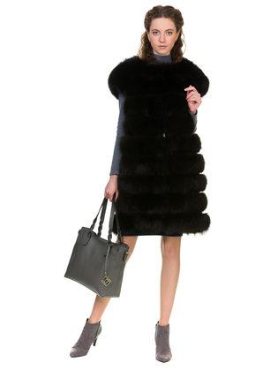 Меховой жилет мех песец, цвет темно-коричневый, арт. 16902611  - цена 25590 руб.  - магазин TOTOGROUP