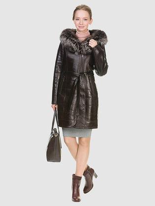 Дубленка эко кожа 100% П/А, цвет темно-коричневый, арт. 16902660  - цена 18990 руб.  - магазин TOTOGROUP
