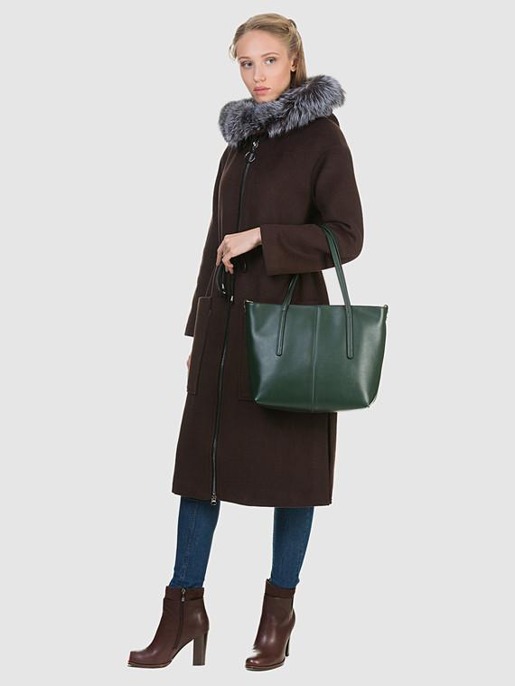 Текстильное пальто 50%шерсть, 50% п/а, цвет темно-коричневый, арт. 16902693  - цена 6990 руб.  - магазин TOTOGROUP