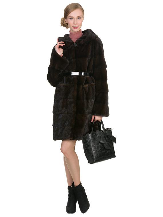 Шуба из норки мех норка, цвет темно-коричневый, арт. 16902856  - цена 67990 руб.  - магазин TOTOGROUP
