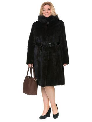 Шуба из норки мех норка крашеная, цвет темно-коричневый, арт. 16902923  - цена 112990 руб.  - магазин TOTOGROUP
