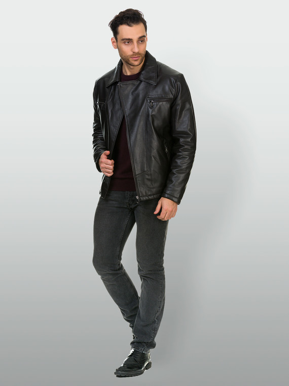 Кожаная куртка кожа , цвет темно-коричневый, арт. 16902979  - цена 16990 руб.  - магазин TOTOGROUP