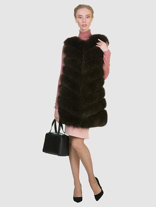 Меховой жилет мех песец, цвет темно-коричневый, арт. 16903002  - цена 19990 руб.  - магазин TOTOGROUP