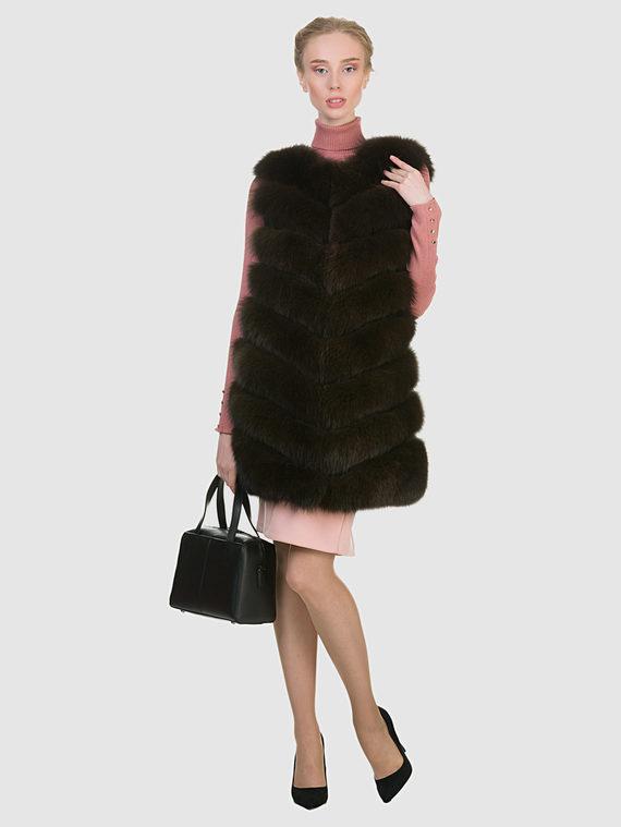 Меховой жилет мех песец, цвет темно-коричневый, арт. 16903002  - цена 16990 руб.  - магазин TOTOGROUP