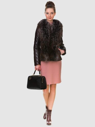Кожаная куртка эко кожа 100% П/А, цвет темно-коричневый, арт. 16903463  - цена 18990 руб.  - магазин TOTOGROUP