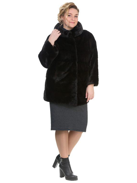 Шуба из норки мех норка, цвет темно-коричневый, арт. 16903516  - цена 71990 руб.  - магазин TOTOGROUP