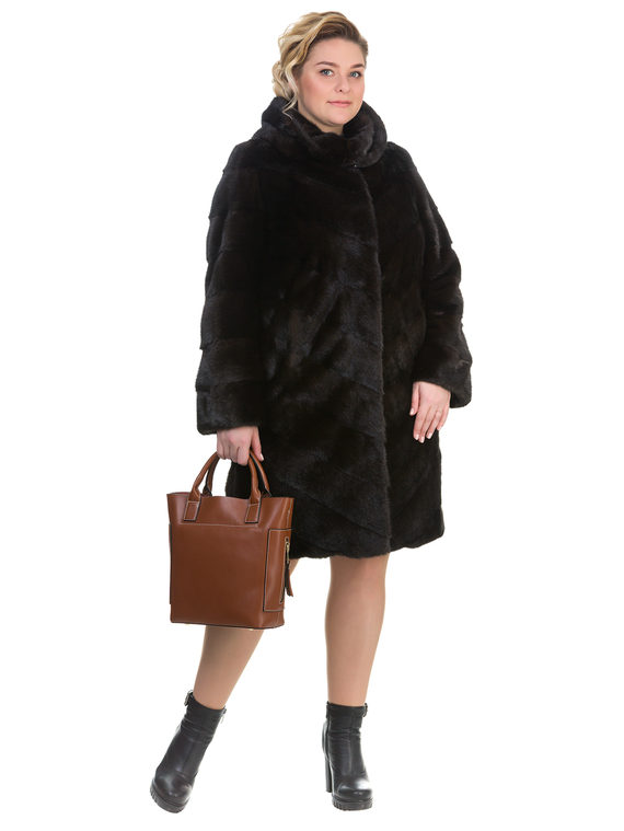 Шуба из норки мех норка, цвет темно-коричневый, арт. 16903518  - цена 71990 руб.  - магазин TOTOGROUP