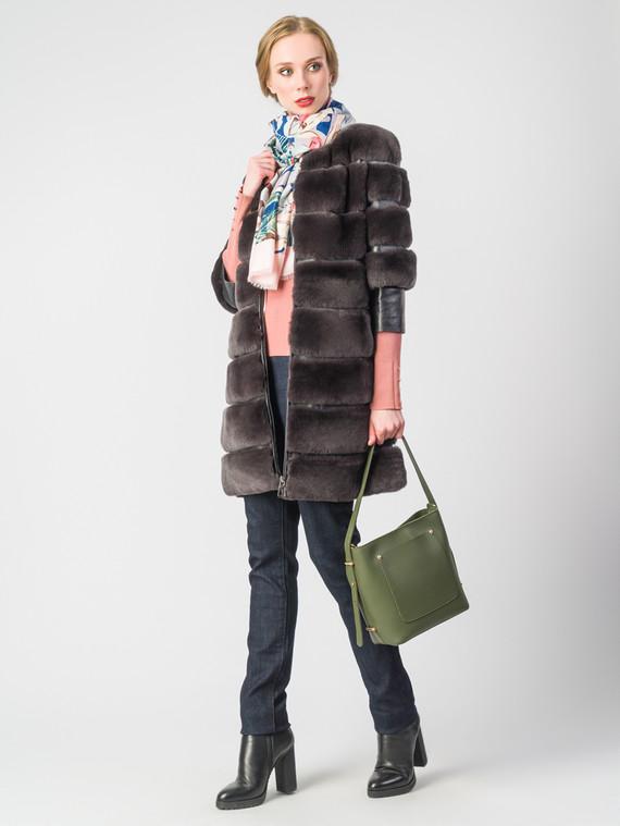 Шуба из кролика мех кролик, цвет коричневый, арт. 17001131  - цена 25590 руб.  - магазин TOTOGROUP