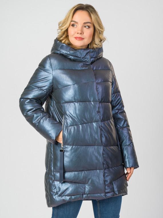 Кожаное пальто эко-кожа 100% П/А, цвет синий, арт. 17007114  - цена 9490 руб.  - магазин TOTOGROUP