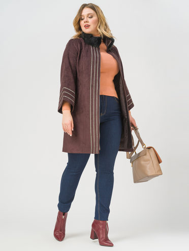Кожаное пальто эко-замша 100% П/А, цвет фиолетовый, арт. 17810026  - цена 15990 руб.  - магазин TOTOGROUP