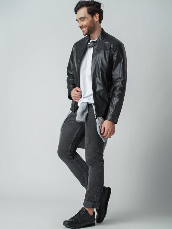 Кожаная куртка кожа коза, цвет черный, арт. 18003406  - цена 9990 руб.  - магазин TOTOGROUP