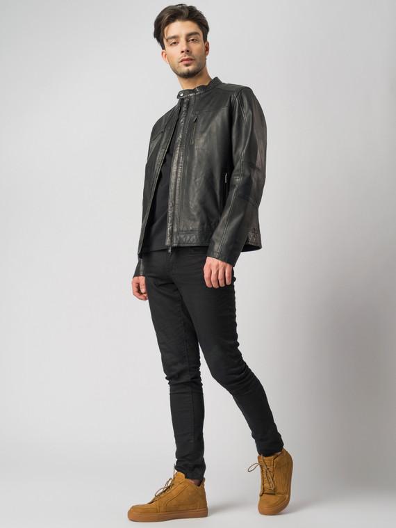 Кожаная куртка кожа , цвет черный, арт. 18003411  - цена 10590 руб.  - магазин TOTOGROUP