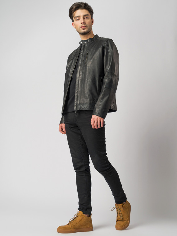 Кожаная куртка кожа , цвет черный, арт. 18003411  - цена 11290 руб.  - магазин TOTOGROUP