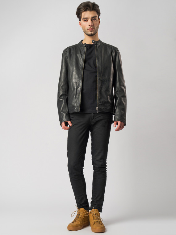 Кожаная куртка кожа , цвет черный, арт. 18003415  - цена 9990 руб.  - магазин TOTOGROUP