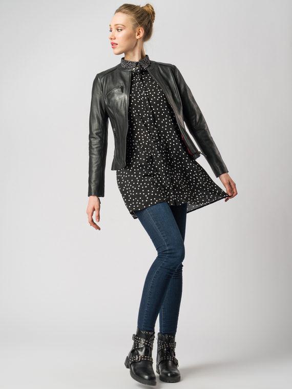 Кожаная куртка кожа , цвет черный, арт. 18005485  - цена 6990 руб.  - магазин TOTOGROUP