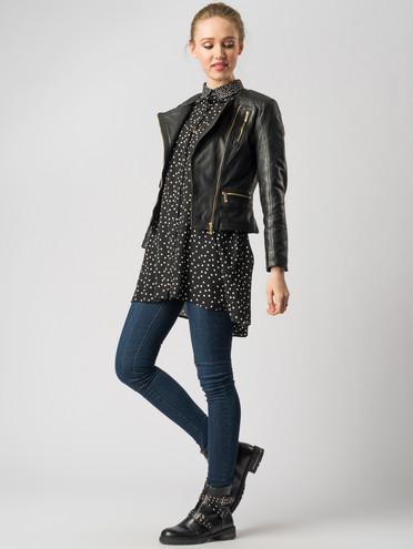Кожаная куртка кожа , цвет черный, арт. 18005502  - цена 11290 руб.  - магазин TOTOGROUP