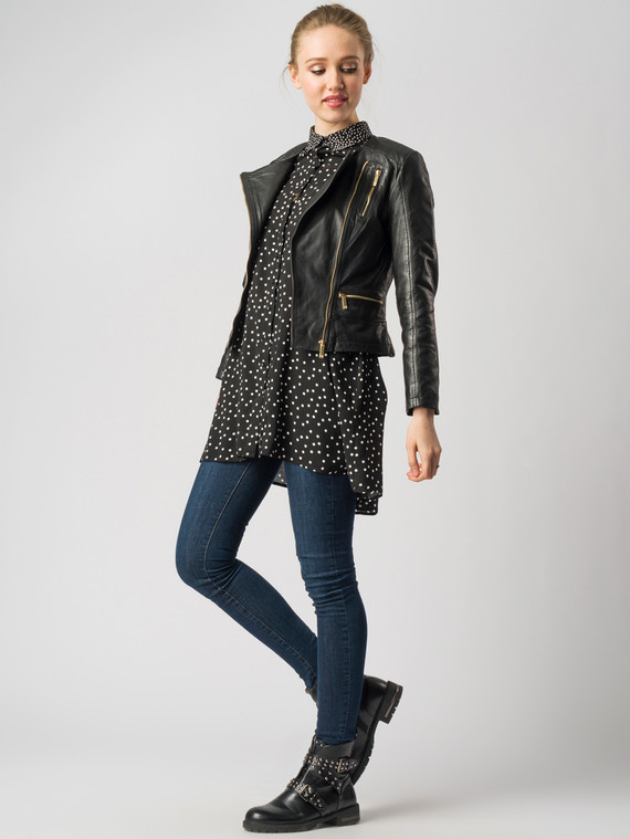 Кожаная куртка кожа , цвет черный, арт. 18005502  - цена 8990 руб.  - магазин TOTOGROUP