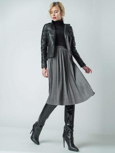Кожаная куртка кожа , цвет черный, арт. 18005546  - цена 11290 руб.  - магазин TOTOGROUP