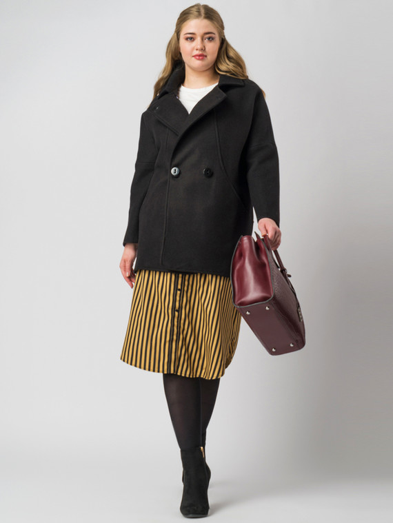 Текстильное пальто 30%шерсть, 70% п\а, цвет черный, арт. 18005556  - цена 5290 руб.  - магазин TOTOGROUP
