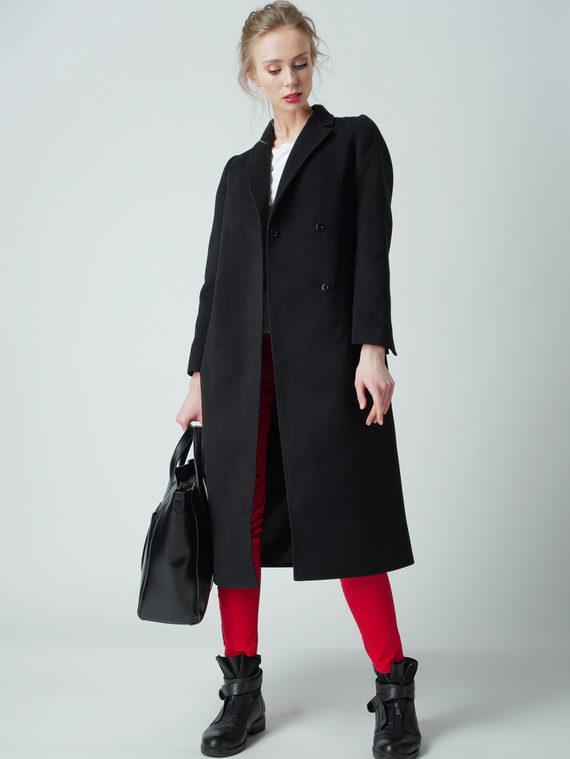 Текстильное пальто 30%шерсть, 70% п.э, цвет черный, арт. 18005650  - цена 5890 руб.  - магазин TOTOGROUP