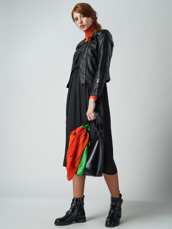 Кожаная куртка эко кожа 100% П/А, цвет черный, арт. 18005785  - цена 4260 руб.  - магазин TOTOGROUP