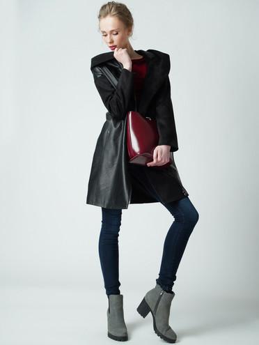 Кожаное пальто эко-кожа 100% П/А, цвет черный, арт. 18005795  - цена 6290 руб.  - магазин TOTOGROUP
