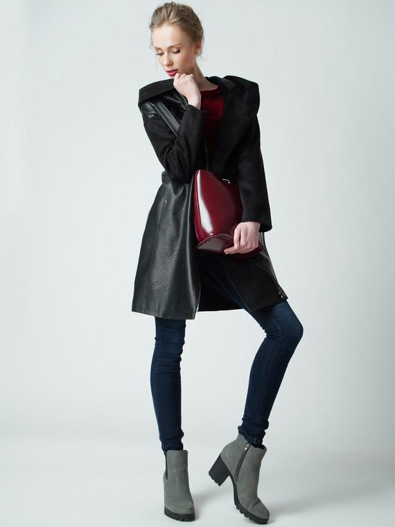 Кожаное пальто эко кожа 100% П/А, цвет черный, арт. 18005795  - цена 6990 руб.  - магазин TOTOGROUP