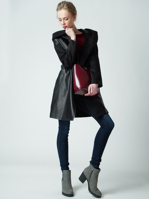 Кожаное пальто эко кожа , цвет черный, арт. 18005795  - цена 6990 руб.  - магазин TOTOGROUP