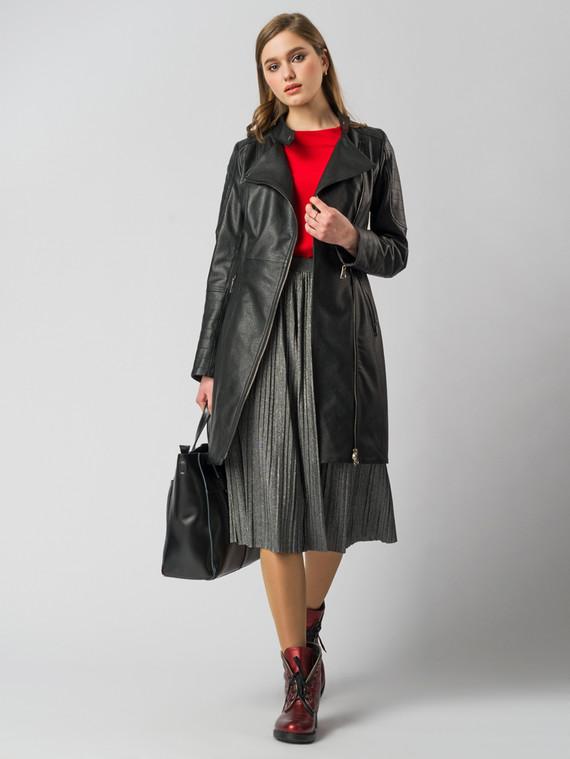 Кожаное пальто эко-кожа 100% П/А, цвет черный, арт. 18005796  - цена 6290 руб.  - магазин TOTOGROUP