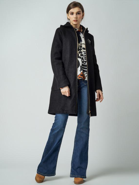 Текстильное пальто 30%шерсть, 70% п\а, цвет черный, арт. 18005827  - цена 4490 руб.  - магазин TOTOGROUP